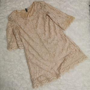 🌈 3/$35 Divided Cream Lace Mini Dress